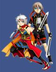 blue_background dual_wielding freyjadour_falenas gensou_suikoden gensou_suikoden_iv gensou_suikoden_v lazlo male moon_source multiple_boys staff suikoden suikoden_iv suikoden_v sword three_section_staff weapon