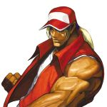 baseball_cap blonde_hair blue_eyes fatal_fury fingerless_gloves gloves hat hat_over_one_eye highres king_of_fighters male muscle nona official_art ponytail sleeveless snk solo svc_chaos terry_bogard vest