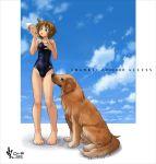 barefoot dog food ice_cream legs mizugi murasaki_nyaa one-piece_swimsuit original school_swimsuit single_vertical_stripe sky swimsuit