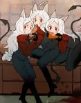 3girls animal_ears black_pants brick_wall cerberus_(helltaker) collared_shirt demon_girl demon_tail dog_ears food food_in_mouth formal helltaker highres hizume_(hizumium) long_hair long_sleeves looking_at_viewer multiple_girls pants red_eyes red_shirt shirt siblings sisters table tail triplets white_hair