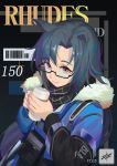 1girl alternate_costume animal_ears arknights bangs barcode bespectacled black_background black_hair black_scarf blue_jacket chinese_commentary commentary_request cup eyebrows_visible_through_hair fang_(arknights) fur-trimmed_jacket fur_trim glasses hands_up highres holding holding_cup jacket kirino_ttk long_hair long_sleeves looking_at_viewer multicolored_hair nail_polish purple_hair purple_nails scarf smile solo streaked_hair upper_body violet_eyes