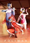 1girl bodysuit breasts clenched_hand hariken_polymar helmet looking_at_viewer multiple_boys polymar takemaru08
