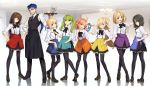 1boy 6+girls absurdres ahoge aora aozaki_aoko apron aqua_eyes arcueid_brunestud artoria_pendragon_(all) bangs black_apron black_bow black_eyes black_hair black_legwear black_pants black_skirt blonde_hair blue_apron blue_eyes blue_hair bow bowtie braid breasts brown_hair closed_mouth collared_shirt cu_chulainn_(fate)_(all) cup dress_shirt earrings fate/stay_night fate_(series) french_braid full_body green_eyes green_hair grin hair_between_eyes hand_on_hip hibino_hibiki highres jewelry kara_no_kyoukai katsuragi_chikagi lancer large_breasts long_hair long_sleeves looking_at_viewer looking_back mahou_tsukai_no_yoru medium_breasts multiple_girls necktie one_eye_closed one_side_up open_mouth orange_apron orange_eyes orange_hair pants pantyhose ponytail purple_apron red_apron red_eyes ryougi_shiki saber shirt short_hair sidelocks skirt sleeves_rolled_up small_breasts smile spiky_hair sugata_sunao teacup teapot tray tsukihime twintails type-moon waist_apron white_shirt yellow_apron