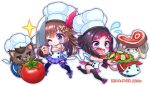 1girl azki_(hololive) black_hair brown_hair chef_hat chibi cooking food game hat hololive long_hair meat noyaariho one_eye_closed open_mouth overcooked short_hair simple_background tokino_sora tokino_sora_channel tomato vegetable virtual_youtuber white_background