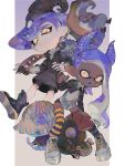 1boy 1girl :d blue_hair blue_hairband candy chum_(splatoon) closed_mouth conductor_namako dark_skin demon_horns domino_mask fake_horns fangs food hairband halloween highres horns inkbrush_(splatoon) inkling jellyfish_(splatoon) legs_apart long_hair long_sleeves looking_at_viewer mask mismatched_legwear mohawk octarian octoling octotrooper open_mouth paint paintbrush pointy_ears salmonid sea_cucumber shoes smile splatoon_(series) splatoon_2 splatoon_2:_octo_expansion standing striped striped_legwear suction_cups teeth tentacle_hair thigh-highs urutora v-shaped_eyebrows very_dark_skin yellow_eyes zettai_ryouiki