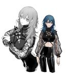 1girl alternate_costume black_pants black_shirt blue_eyes blue_hair breast_hold breasts byleth_(fire_emblem) byleth_(fire_emblem)_(female) closed_mouth clovisxvii commentary contrapposto cowboy_shot crop_top expressionless fire_emblem fire_emblem:_three_houses greyscale hair_between_eyes highres large_breasts leather leather_pants lips long_hair long_sleeves looking_at_viewer midriff monochrome multiple_views navel o-ring o-ring_top pants partially_colored see-through_sleeves shiny shiny_clothes shirt simple_background strap sweatdrop turtleneck white_background