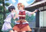 2girls architecture black_hair blonde_hair blue_eyes building commentary east_asian_architecture eyebrows_visible_through_hair fang hair_ornament hat hose multicolored_hair multiple_girls murasa_minamitsu neckerchief open_mouth outdoors roke_(taikodon) sailor_collar sailor_hat short_sleeves shorts toramaru_shou touhou tree two-tone_hair water wet wet_clothes wet_hair wrist_grab yellow_eyes