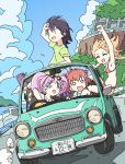 ahoge akaza_akari ankake_yakisova bikini black_hair blonde_hair bow car clouds double_bun driving eyewear_on_head funami_yui ground_vehicle hair_bobbles hair_bow hair_ornament highres long_hair motor_vehicle multiple_girls open_mouth pink_hair railing redhead road short_hair sky swimsuit toshinou_kyouko twintails vehicle yoshikawa_chinatsu yuru_yuri