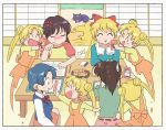 5girls ^_^ ^o^ afterimage aino_minako anger_vein angry bangs belt bishoujo_senshi_sailor_moon black_hair blonde_hair blue_dress blue_hair blue_vest blush bow bowtie brown_hair casual cat cellphone chibi closed_eyes closed_mouth collared_shirt commentary day diana_(sailor_moon) double_bun dress dress_shirt green_shirt hair_bobbles hair_ornament hino_rei indoors kino_makoto long_hair luna_(sailor_moon) mizuno_ami multiple_girls multiple_views notebook open_mouth orange_skirt overalls parted_bangs pencil phone ponytail red_neckwear red_shirt red_skirt sailor_moon_redraw_challenge shirt short_hair sitting skirt sliding_doors smartphone smile sweatdrop t-shirt table tsubobot tsukino_usagi twintails two-tone_shirt vest white_shirt yellow_shirt