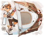 1boy black_gloves blue_eyes blue_hair boots brown_shirt closed_mouth dated domino_mask fingerless_gloves gloves harutarou_(orion_3boshi) highres holding holding_weapon ink_tank_(splatoon) inkling inkling_(language) looking_to_the_side male_focus mask paint_splatter pointy_ears print_shirt shirt short_hair short_sleeves solo splatoon_(series) splatoon_2 standing standing_on_one_leg straight-laced_footwear sweatdrop t-shirt tenta_brella_(splatoon) tentacle_hair weapon white_footwear
