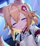 1girl animal_ear_fluff animal_ears bangs blonde_hair blush bukurote closed_eyes eyebrows_visible_through_hair flower fox_ears fox_girl fox_tail hair_between_eyes hair_flower hair_ornament japanese_clothes miko senko_(sewayaki_kitsune_no_senko-san) sewayaki_kitsune_no_senko-san tail