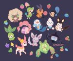 :d ^_^ berry_(pokemon) black_background black_eyes bluk_berry cheri_berry citruslucy closed_eyes coba_berry commentary creature deerling deerling_(spring) emolga english_commentary figy_berry full_body gen_5_pokemon happy lampent leppa_berry looking_at_viewer magost_berry minccino munna no_humans nomel_berry open_mouth oran_berry oshawott pecha_berry persim_berry pokemon pokemon_(creature) rawst_berry razz_berry reuniclus rindo_berry simple_background smile snivy starter_pokemon starter_pokemon_trio tepig tympole vanillite whimsicott yache_berry