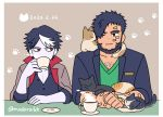 2boys bandaid beard blue_hair blue_jacket cafe cat cat_day chest_hair coffee coffee_mug coffee_talk cup eyelashes facial_hair gala_(coffee_talk) green_shirt hair_over_one_eye hyde_(coffee_talk) jacket jacket_on_shoulders madara6k mug multicolored_hair multiple_boys one_eye_closed pale_skin red_eyes shirt simple_background upper_body vampire werewolf
