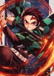 1boy belt brown_hair checkered earrings fire forehead_scar highres jewelry kamado_tanjirou katana kimetsu_no_yaiba kuroi_susumu male_focus red_eyes sheath sword uniform weapon