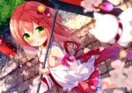 1girl bangs blurry blurry_background blurry_foreground blush bow breasts cherry_blossoms chinomaron commentary_request depth_of_field detached_sleeves eyebrows_visible_through_hair green_eyes hair_between_eyes hair_ornament hairclip holding holding_umbrella hololive long_hair looking_at_viewer nontraditional_miko oriental_umbrella outdoors pink_hair sakura_miko sideboob skirt solo umbrella virtual_youtuber x_hair_ornament
