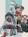 1boy 1girl ;d bike_shorts black_eyes blue_hair blue_headwear blue_jacket bobblehat camouflage camouflage_footwear closed_mouth dark_skin domino_mask explosher_(splatoon) fangs goggles goggles_on_head goggles_on_headwear hat highres hireo-kun ink_tank_(splatoon) inkling jacket light_blue_hair long_hair long_sleeves mask one_eye_closed open_clothes open_jacket open_mouth pointy_ears pom_pom_(clothes) red_scarf scarf sitting ski_goggles smile splat_charger_(splatoon) splatoon_(series) splatoon_2 striped suction_cups teeth tentacle_hair urutora vertical-striped_scarf vertical_stripes very_dark_skin very_long_hair violet_eyes