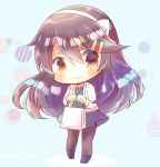 1girl bag bangs black_footwear blue_background blue_dress blush bow brown_eyes brown_hair brown_legwear chibi closed_mouth commentary_request diagonal_stripes dress eyebrows_visible_through_hair full_body hair_between_eyes hair_bow hair_ornament hairband hairclip haruna_(kantai_collection) holding holding_bag jacket kantai_collection kouu_hiyoyo long_hair long_sleeves looking_at_viewer open_clothes open_jacket pantyhose smile solo standing striped very_long_hair white_bow white_hairband white_jacket