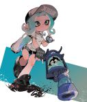 1girl baseball_cap bike_shorts black_eyes black_footwear blue_hair blue_skin closed_mouth fingerless_gloves full_body gloves gradient_skin grey_gloves hat highres holding ink_tank_(splatoon) l-3_nozzlenose_(splatoon) leg_up long_hair octarian octoling shirt shoes short_sleeves solo splatoon_(series) splatoon_2 t-shirt tentacle_hair two-tone_skin urutora white_shirt