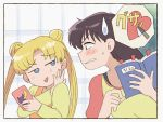 2girls bangs bishoujo_senshi_sailor_moon black_hair blonde_hair blue_eyes blush book bookmark brown_eyes cellphone clenched_teeth commentary day double_bun eyebrows_visible_through_hair heart hino_rei holding holding_book holding_phone indoors knife long_hair looking_at_another multiple_girls open_door open_mouth overalls parted_bangs phone shirt sliding_doors smartphone straight_hair sweatdrop teeth textbook tsubobot tsukino_usagi twintails upper_body yellow_shirt