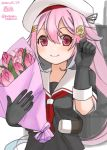 1girl beret black_serafuku bobokuboboku bouquet character_name commentary_request dated flower gradient_hair hair_flower hair_ornament harusame_(kantai_collection) hat highres kantai_collection long_hair looking_at_viewer machinery multicolored_hair pink_hair red_eyes school_uniform serafuku side_ponytail simple_background smile solo tulip twitter_username upper_body white_background white_headwear