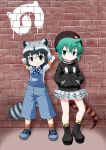 2girls against_wall akou_roushi alternate_costume animal_ears arms_behind_head arms_up bare_arms bare_legs black_hair brick_wall brown_eyes cardigan casual closed_mouth common_raccoon_(kemono_friends) contemporary extra_ears eyebrows_visible_through_hair fang fang_out frilled_skirt frills full_body graffiti green_eyes green_hair grey_hair hair_between_eyes hands_in_pockets hat japari_symbol kemono_friends leaning_back long_sleeves microskirt multicolored_hair multiple_girls overalls pocket raccoon_ears raccoon_tail shirt shoes short_hair short_sleeves sidelocks skirt smile snake_tail socks standing standing_on_one_leg tail tsuchinoko_(kemono_friends) v-shaped_eyebrows wall white_hair zipper