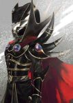 1boy aoki_(fumomo) armor belt cape closed_mouth greaves helmet male_focus orange_eyes pauldrons red_cape solo spikes standing yuu-gi-ou yuu-gi-ou_gx yuuki_juudai