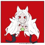 3girls animal_ears ball bangs breasts cerberus_(helltaker) dog_ears fang grin helltaker in_mouth long_hair looking_at_viewer mado_(mukade_tou) multiple_girls open_mouth parted_bangs red_eyes smile teeth tennis_ball vest white_hair