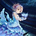 1girl arena bangs blonde_hair blue_dress blurry blurry_background breasts character_request collarbone commentary_request dress eyebrows_visible_through_hair floating floating_object flower glass_slipper glint gloves hair_flower hair_ornament hi-ho- high_heels highres idolmaster idolmaster_cinderella_girls layered_dress looking_at_object night orange_eyes short_hair sky sleeveless sleeveless_dress small_breasts smile solo star_(sky) starry_sky swept_bangs tiara white_gloves