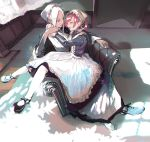 2girls :d apron bonnet breasts commentary_request couch curtains dark_skin earrings hug jewelry long_hair maid maid_apron mary_janes multiple_girls onizuka_furiru open_mouth original photoshop_(medium) red_eyes shoes sitting smile twintails white_hair white_legwear