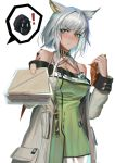 ! 1girl 1other absurdres arknights bare_shoulders blush breasts commentary_request doctor doctor_(arknights) dress eyebrows_visible_through_hair food giving green_dress green_eyes highres hood hooded_jacket jacket kaiser_aki kal'tsit_(arknights) looking_at_viewer medium_breasts offering originium_(arknights) sandwich silver_hair solo_focus stethoscope