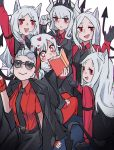 6+girls :d animal_ears black_gloves black_horns black_jacket black_neckwear black_pants black_tail black_vest blush business_suit cerberus_(helltaker) collared_shirt demon_girl demon_horns demon_tail dog_ears dog_girl eyebrows_visible_through_hair formal gloves hair_ornament heart heart-shaped_pupils helltaker horns jacket justice_(helltaker) long_hair long_sleeves looking_at_viewer lucifer_(helltaker) medium_hair modeus_(helltaker) mole mole_under_eye multiple_girls necktie neckwear open_mouth pants red_eyes red_legwear red_shirt shirt short_hair siblings simple_background sisters sleeves_rolled_up smile suit sunglasses symbol-shaped_pupils tail thigh-highs triplets very_long_hair vest white_background white_hair white_horns yurooe