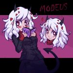 1girl artist_name black_horns black_jacket black_miniskirt black_skirt black_suit black_tail blush book breasts business_suit character_name curly_hair dated demon_girl demon_horns formal heart heart-shaped_pupils helltaker highres holding holding_book horns huge_breasts jacket large_breasts long_sleeves looking_at_viewer medium_hair miniskirt modeus_(helltaker) open_mouth pantyhose red_eyes red_legwear red_sweater ribbed_shirt shirt short_hair siddngor skirt sleeves_past_wrists smile solo standing suit sweater symbol-shaped_pupils tail turtleneck white_hair