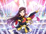 dress long_hair purple_hair shoujo_kageki_revue_starlight smile sword tendou_maya violet_eyes