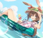 1girl :d amiya_(arknights) animal_ear_fluff animal_ears arknights bangs bendy_straw black_ribbon blue_eyes blue_shorts blue_sky blush breasts brown_hair brown_headwear clouds commentary_request cup day drink drinking_glass drinking_straw dutch_angle ears_through_headwear eyebrows_visible_through_hair flower goggles goggles_on_headwear hair_between_eyes hair_ribbon hat hat_flower holding holding_cup ice ice_cube innertube kildir open_mouth outdoors palm_tree plaid plaid_skirt ponytail puffy_short_sleeves puffy_sleeves rabbit_ears red_flower ribbon short_shorts short_sleeves shorts skirt sky small_breasts smile solo straw_hat transparent tree water