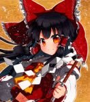 1girl bangs bare_shoulders black_hair bow closed_mouth collar eyebrows_visible_through_hair gohei hair_tubes hakurei_reimu hand_up long_hair long_sleeves orange_background qqqrinkappp red_bow red_eyes red_skirt red_vest shikishi simple_background skirt solo touhou traditional_media vest white_collar white_sleeves yellow_neckwear