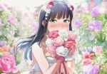 1girl bangs bare_shoulders black_hair blurry blurry_background blurry_foreground blush bouquet closed_mouth commentary_request depth_of_field dress eyebrows_visible_through_hair flower green_eyes hair_flower hair_ornament holding holding_bouquet kurosawa_dia long_hair love_live! love_live!_sunshine!! pink_flower pink_rose purple_flower purple_rose red_flower red_rose rose shaka_(staito0515) solo strapless strapless_dress tiara very_long_hair white_dress white_flower white_rose