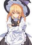 1girl angry apron black_headwear black_skirt black_vest blonde_hair blush bow braid commentary_request crossed_arms double-breasted frilled_apron frills hair_bow hat highres kirisame_marisa kmuccu long_hair long_sleeves pout purple_bow shirt simple_background single_braid skirt solo touhou vest waist_apron white_apron white_background white_shirt witch witch_hat yellow_eyes