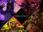 balloon blue_eyes bonnie_(fnaf) checkered checkered_floor chica commentary_request copyright_name five_nights_at_freddy's five_nights_at_freddy's_2 foxy_(fnaf) freddy_fazbear hallway highres horror_(theme) indoors looking_at_viewer teeth violet_eyes yakou_(pixiv10740516) yellow_eyes