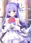 1girl :d azur_lane bangs bare_shoulders black_bow black_ribbon blurry blurry_background blush bouquet bow breasts collarbone commentary_request depth_of_field detached_sleeves dress eyebrows_visible_through_hair flower hair_between_eyes hair_bun hair_ribbon highres holding holding_bouquet indoors long_hair long_sleeves looking_at_viewer medium_breasts one_side_up open_mouth pantyhose petals puffy_long_sleeves puffy_sleeves purple_hair red_flower red_rose ribbon rose satsuki_yukimi see-through side_bun smile solo standing strapless strapless_dress unicorn_(azur_lane) very_long_hair violet_eyes white_dress white_legwear white_sleeves