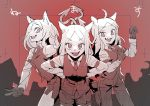 3girls animal_ears armband black_gloves black_neckwear black_pants black_shorts black_vest breasts cerberus_(helltaker) collared_shirt demon_girl demon_tail dog_ears eyebrows_visible_through_hair fang fangs formal gloves hands_on_hips hands_up helltaker highres long_hair long_sleeves looking_at_viewer matching_outfit medium_breasts monster_girl multiple_girls necktie neckwear oishii_ishiwata open_eyes open_mouth pants red_eyes red_shirt shirt shorts siblings sisters small_breasts smile suit tail triplets twins vest white_hair white_tail