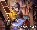 1girl bangs black_hair chinese_clothes copyright_name dream_catcher essual_(layer_world) hair_up highres ladder looking_at_viewer magic_circle official_art scroll sitting solo watermark wide_sleeves yellow_eyes zenonzard