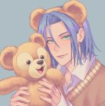 1boy animal_ears bear bear_ears comforting gi_xxy green_eyes highres kojirou_(pokemon) pokemon pokemon_(anime) stuffed_animal stuffed_toy team_rocket teddy_bear