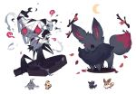 bandages black_eyes charamells coffin commentary creature crescent_moon dusclops eevee english_commentary full_body fusion gen_1_pokemon gen_3_pokemon gen_5_pokemon gen_7_pokemon grass highres mimikyu moon multiple_fusions no_humans pokemon pokemon_(creature) red_eyes simple_background standing white_background zorua