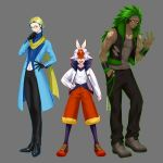 3boys :d absurdres black_gloves black_pants cinderace closed_mouth commentary_request dark_skin dark_skinned_male facial_mark full_body furrowed_eyebrows gen_8_pokemon gloves green_hair grey_background hand_in_pocket hand_on_hip highres inteleon long_hair long_sleeves looking_at_viewer male_focus monocle multicolored_hair multiple_boys open_mouth pants parted_lips personification pokemon red_eyes rillaboom shoelaces shoes simple_background smile smirk starter_pokemon starter_pokemon_trio tied_hair two-tone_hair upper_body white_hair yakou_(pixiv10740516) yellow_eyes