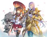 1boy 1girl armor blue_eyes brown_hair cannon cherry_blossoms commentary_request company_connection cowboy_shot crossover detached_sleeves flower full_armor gloves gold_armor hachisuka_kotetsu hair_between_eyes hair_flower hair_ornament headgear hip_vent kantai_collection kikumon long_hair machinery oriental_umbrella ponytail purple_hair red_skirt red_umbrella simple_background single_thighhigh skirt thigh-highs touken_ranbu turret umbrella white_background white_gloves yamato_(kantai_collection) yamatsuki_sou z_flag