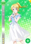 ayase_eli blonde_hair blue_eyes blush character_name dress long_hair love_live!_school_idol_festival love_live!_school_idol_project ponytail smile