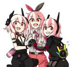 3girls alternate_costume belt black_dress black_jacket blush bottle cerberus_(helltaker) commentary_request dress fang flower girls_frontline hair_between_eyes hair_flower hair_ornament headgear helltaker highres holding_hands hood hooded_jacket interlocked_fingers jacket long_hair long_sleeves looking_at_viewer m4_sopmod_ii_(girls_frontline) mechanical_arm megaphone mod3_(girls_frontline) multiple_girls multiple_persona open_mouth parody pink_hair red_eyes ro635_(dinergate) sate simple_background sleeveless sleeveless_dress white_background