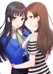 2girls absurdres arjent bangs black_hair blue_eyes blue_shirt blush brown_eyes brown_hair closed_mouth hair_intakes hands_on_another's_shoulders hands_on_hips highres idolmaster idolmaster_million_live! kitazawa_shiho long_hair mogami_shizuka multiple_girls open_mouth profile shirt simple_background standing striped striped_shirt upper_body white_background