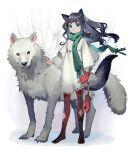 1girl animal_ears argyle argyle_legwear blue_eyes blue_hair dress highres holding long_hair mittens original red_legwear scarf shio_(s_alt_shio) smile tail tree white_dress wolf