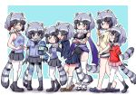 6+girls adapted_costume alternate_costume animal_ears bare_legs bare_shoulders black_legwear black_neckwear black_skirt blue_hair blue_sweater blush bow bowtie brown_eyes commentary_request common_raccoon_(kemono_friends) crocs crossed_arms denim denim_shorts elbow_gloves eyebrows_visible_through_hair fang fishnets full_body fur_collar gloves grey_hair hand_on_another's_shoulder height_difference highres holding_hands kemono_friends long_sleeves lucky_beast_(kemono_friends) multicolored_hair multiple_girls multiple_views navy_blue_jacket navy_blue_shirt ngetyan open_mouth palcoarai-san_(kemono_friends) pantyhose patchwork_skin pink_sweater pleated_skirt raccoon_ears raccoon_girl raccoon_tail red_eyes red_shirt school_uniform shirt short_hair short_shorts short_sleeves shorts simple_background skirt sleeveless socks sweat sweater t-shirt tail thigh-highs torn_clothes torn_legwear translation_request white_hair white_legwear yellow_shirt zettai_ryouiki zombie